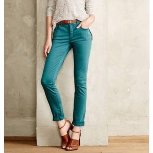 Anthropologie Pilcro Stet Skinny Emerald Jeans